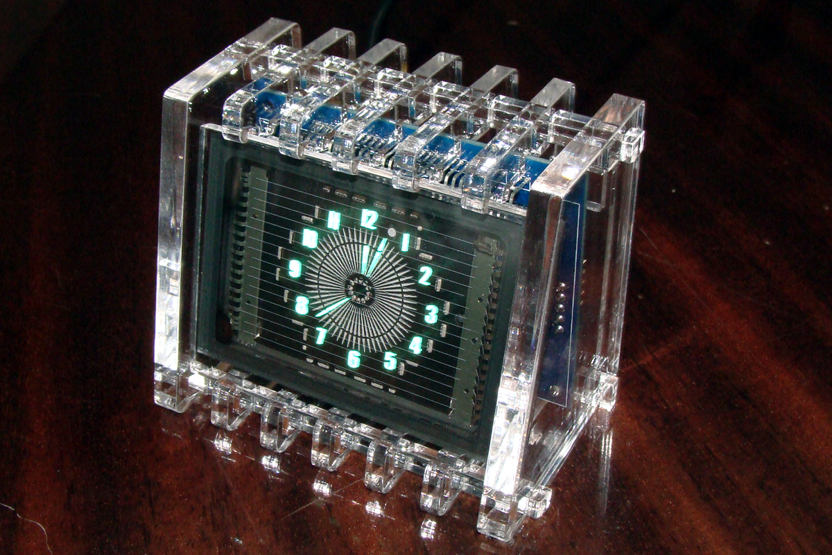 VFD Round Clock in Acrylic Case