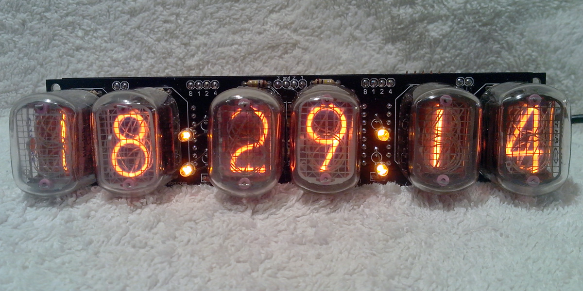 IN-12 6 digits clock Clock displaying time and date